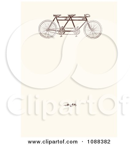 Clipart Vintage Tandem Bicycle And Blossoms On Beige - Royalty Free Vector Illustration by BestVector