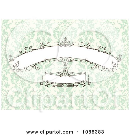 Clipart Beautiful Decorative Banners Over Green Damask - Royalty Free Vector Illustration by BestVector