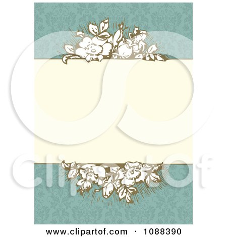 Clipart Vintage Roses Around A Beige Frame On Turquoise Damask - Royalty Free Vector Illustration by BestVector