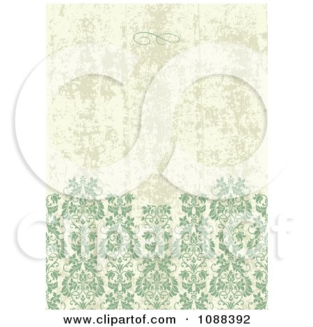 Clipart Distressed Green And Tan Damask Pattern Background - Royalty Free Vector Illustration by BestVector