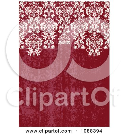 Clipart Distressed Red Background With White Damask - Royalty Free Vector Illustration by BestVector