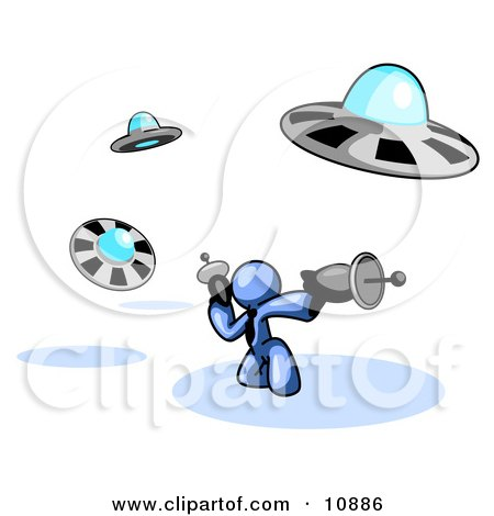 Blue Man Fighting Off UFO's With Weapons Clipart Illustration by Leo Blanchette