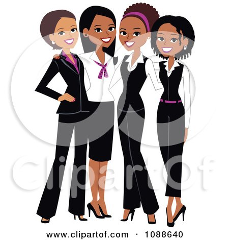 Clipart Four Professional Ladies Posing Together - Royalty Free Vector Illustration by Monica
