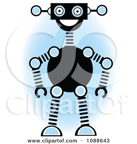 Clipart Robot Smiling Over A Blue Oval - Royalty Free Vector Illustration by mheld
