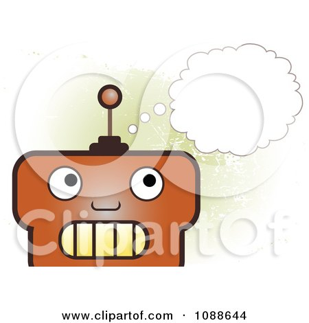 Clipart Big Headed Robot Thinking Over Green Grunge - Royalty Free Vector Illustration by mheld