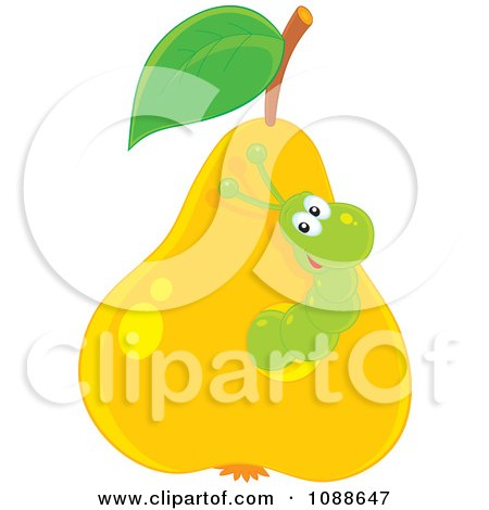 Clipart Green Worm Eating Through A Pear - Royalty Free Vector Illustration by Alex Bannykh
