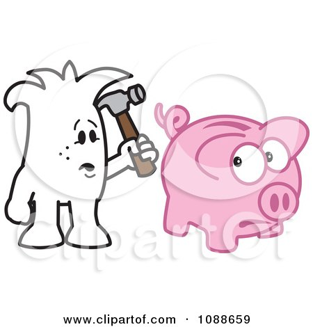 Clipart Squiggle Guy Stuck Breaking The Bank - Royalty Free Vector Illustration by Toons4Biz