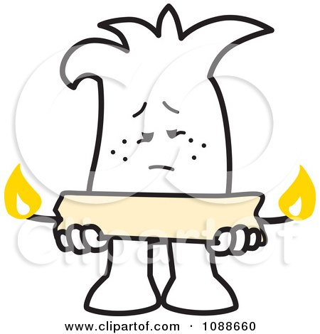Clipart Squiggle Guy Holding A Candle Burning At Both Ends - Royalty Free Vector Illustration by Toons4Biz