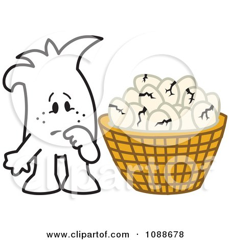 Clipart Squiggle Guy With Broken Eggs All In One Basket - Royalty Free Vector Illustration by Toons4Biz