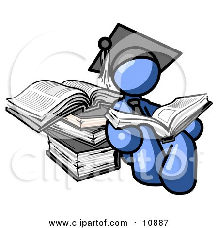 Blue Male Student in a Graduation Cap, Reading a Book and Leaning Against a Stack of Books Posters, Art Prints