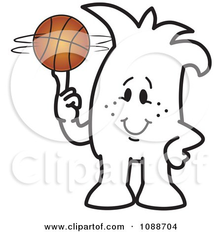 Clipart Squiggle Guy Spinning A Basketball - Royalty Free Vector Illustration by Toons4Biz