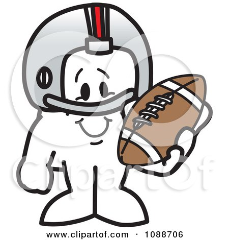 Clipart Squiggle Guy Football Player - Royalty Free Vector Illustration by Toons4Biz