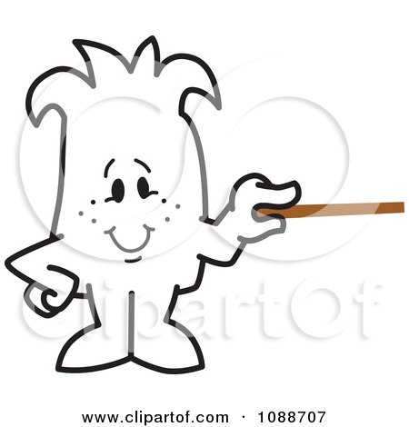 Clipart Squiggle Guy Holding A Pointer Stick - Royalty Free Vector Illustration by Toons4Biz