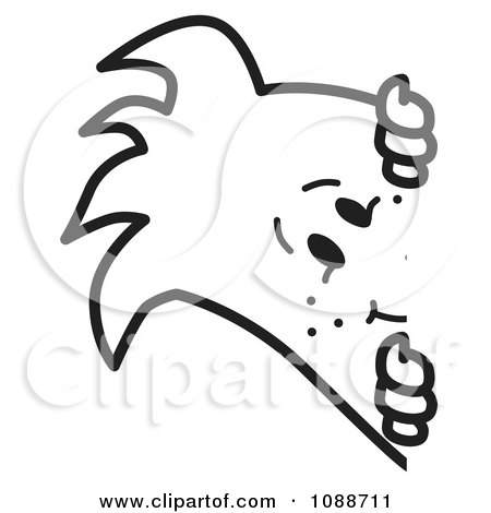 Clipart Squiggle Guy Looking Around A Corner - Royalty Free Vector Illustration by Toons4Biz
