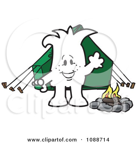 Clipart Squiggle Guy Camping - Royalty Free Vector Illustration by Toons4Biz