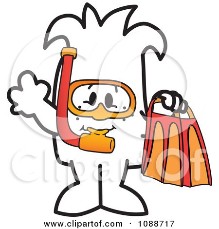Clipart Squiggle Guy Snorkeling - Royalty Free Vector Illustration by Toons4Biz