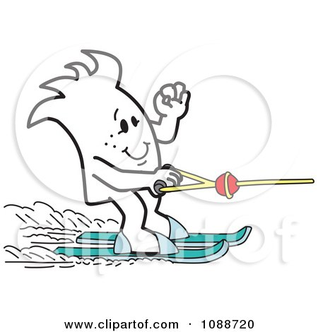Clipart Squiggle Guy Water Skiing - Royalty Free Vector Illustration by Toons4Biz