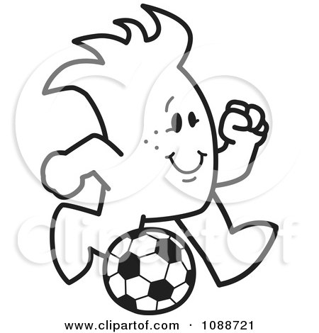Clipart Squiggle Guy Playing Soccer - Royalty Free Vector Illustration by Toons4Biz