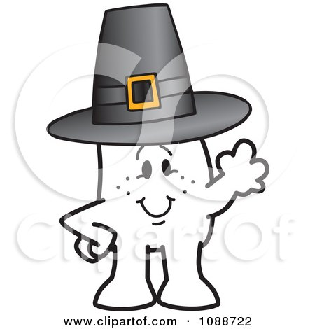 Clipart Thanksgiving Squiggle Guy Wearing A Pilgrim Hat - Royalty Free Vector Illustration by Toons4Biz