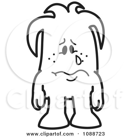 Clipart Sad Crying Squiggle Guy - Royalty Free Vector Illustration by Toons4Biz