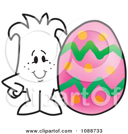 Clipart Squiggle Guy With A Pink Easter Egg - Royalty Free Vector Illustration by Toons4Biz