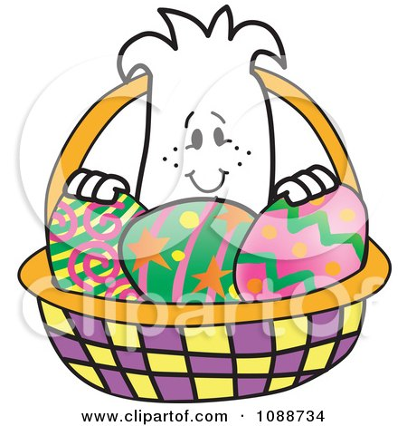 Clipart Squiggle Guy In An Easter Egg Basket - Royalty Free Vector Illustration by Toons4Biz