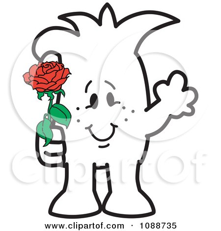 Clipart Squiggle Guy Giving A Rose - Royalty Free Vector Illustration by Toons4Biz