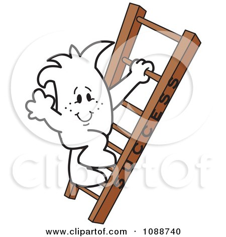Clipart Squiggle Guy Climbing The Ladder To Success - Royalty Free Vector Illustration by Toons4Biz