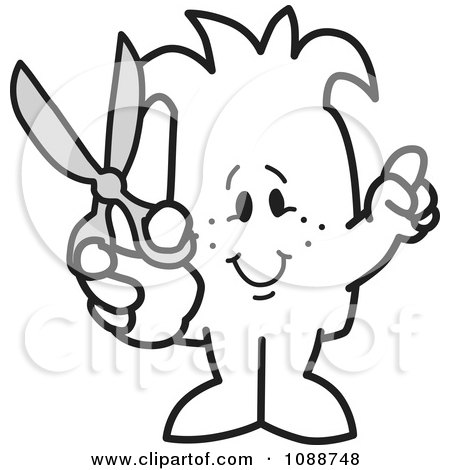 Clipart Squiggle Guy Holding Scissors - Royalty Free Vector Illustration by Toons4Biz