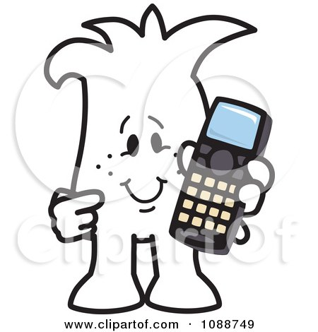 Clipart Squiggle Guy Holding A Phone - Royalty Free Vector Illustration by Toons4Biz