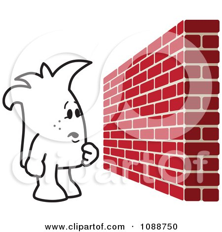 Clipart Squiggle Guy Facing A Brick Wall Obstacle - Royalty Free Vector Illustration by Toons4Biz