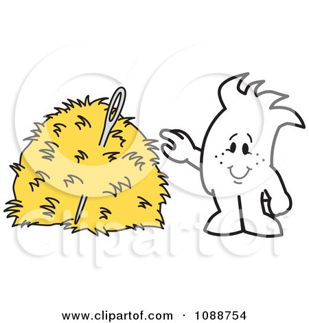 Clipart Squiggle Guy Finding A Needle In A Hay Stack - Royalty Free Vector Illustration by Toons4Biz