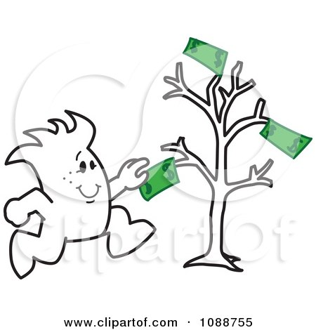 Clipart Squiggle Guy Grabbing Cash From A Money Tree - Royalty Free Vector Illustration by Toons4Biz