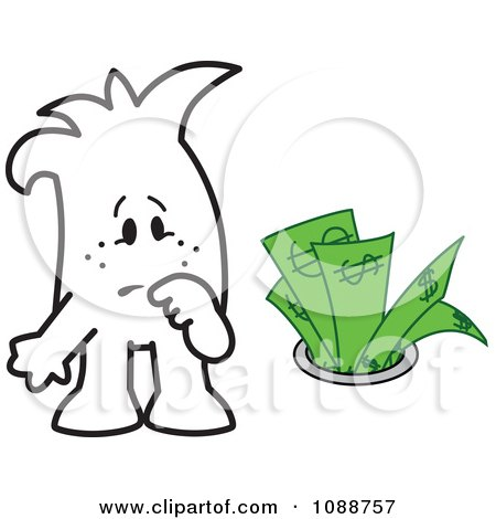 Clipart Squiggle Guy Watching Money Going Down The Drain - Royalty Free Vector Illustration by Toons4Biz