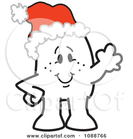 Clipart Christmas Squiggle Guy Waving And Wearing A Santa Hat - Royalty Free Vector Illustration by Toons4Biz