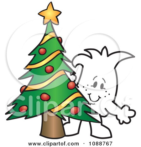 Clipart Christmas Squiggle Guy By A Tree - Royalty Free Vector Illustration by Toons4Biz