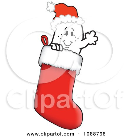 Clipart Christmas Squiggle Guy Wearing A Santa Hat In A Stocking - Royalty Free Vector Illustration by Toons4Biz
