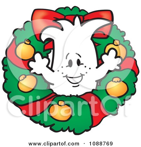 Clipart Christmas Squiggle Guy In A Wreath - Royalty Free Vector Illustration by Toons4Biz