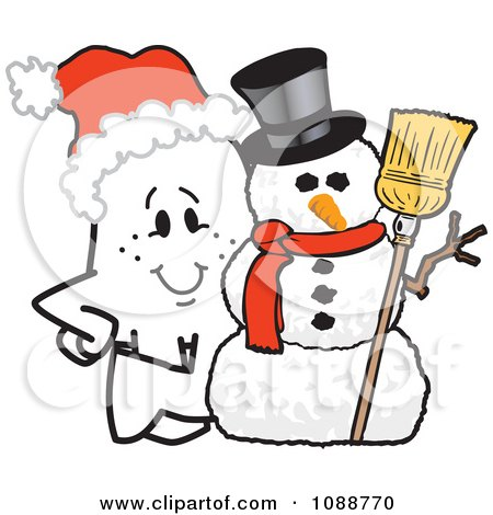 Clipart Christmas Squiggle Guy By A Snowman - Royalty Free Vector Illustration by Toons4Biz