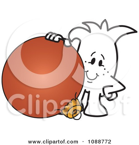 Clipart Squiggle Guy With A Christmas Bauble - Royalty Free Vector Illustration by Toons4Biz