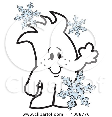 Clipart Squiggle Guy With Snowflakes - Royalty Free Vector Illustration by Toons4Biz