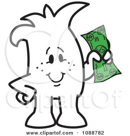 Clipart Squiggle Guy Holding Cash - Royalty Free Vector Illustration by Toons4Biz