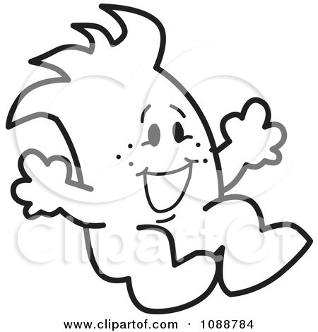 Clipart Squiggle Guy Jumping - Royalty Free Vector Illustration by Toons4Biz