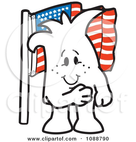 Clipart Squiggle Guy Pledging Allegiance To The American Flag - Royalty Free Vector Illustration by Toons4Biz