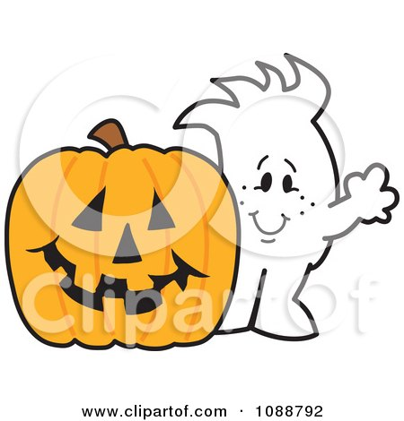 Clipart Squiggle Guy With A Halloween Jackolantern - Royalty Free Vector Illustration by Toons4Biz