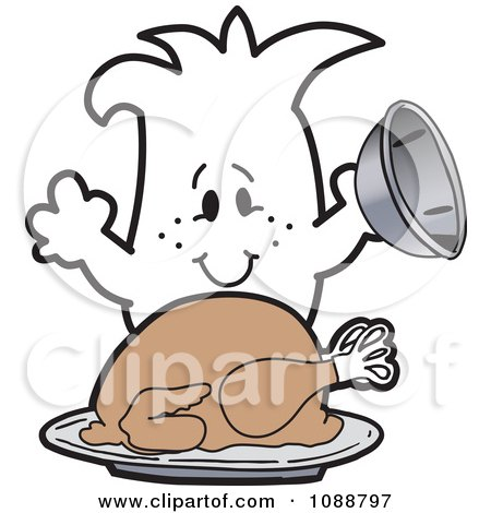 Clipart Squiggle Guy Serving A Thanksgiving Turkey - Royalty Free Vector Illustration by Toons4Biz