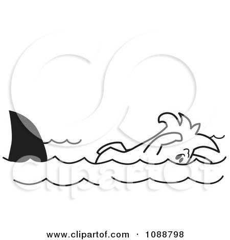 Clipart Squiggle Guy Swimming With Sharks - Royalty Free Vector Illustration by Toons4Biz