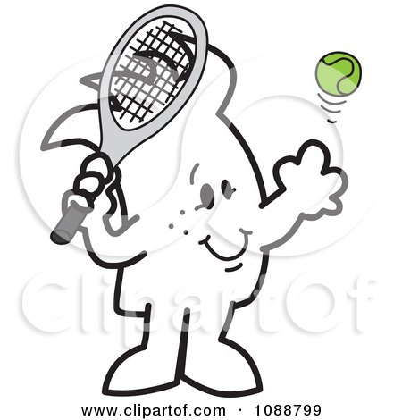 Clipart Squiggle Guy Playing Tennis - Royalty Free Vector Illustration by Toons4Biz