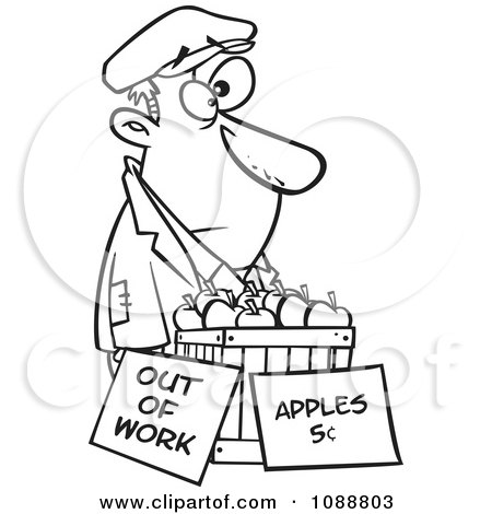 Clipart Outlined Homeless Man Trying To Sell Apples - Royalty Free Vector Illustration by toonaday