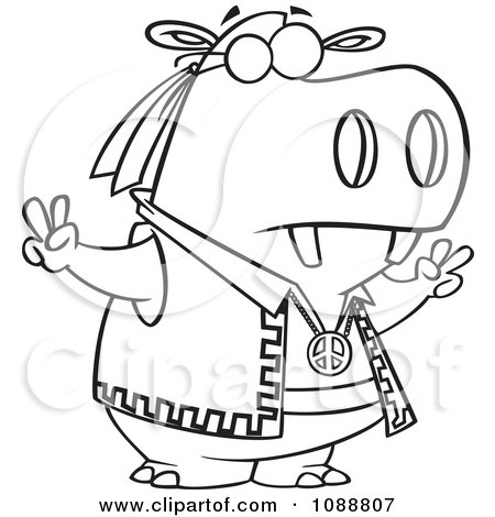 Clipart Outlined Hippie Hippo Gesturing Peace - Royalty Free Vector Illustration by toonaday
